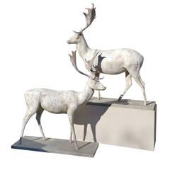 English Handmade Life-Size Deer Sculptures