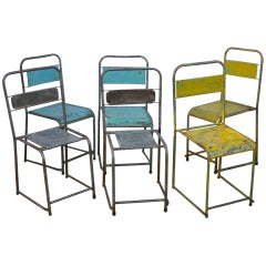 Metal Cafe Chairs, c. 1940