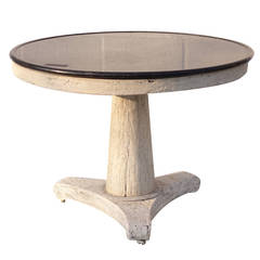 Oak Table with Marble Top to Base