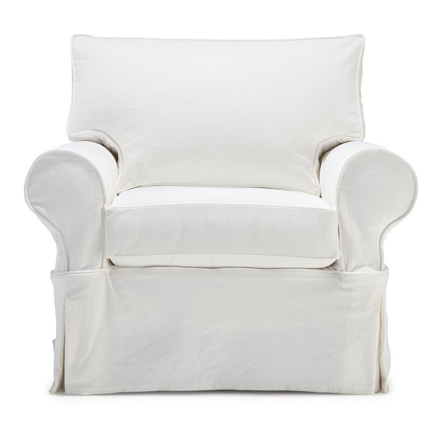 Traditional Slipcovered Roll Arm Chair For Sale At 1stdibs