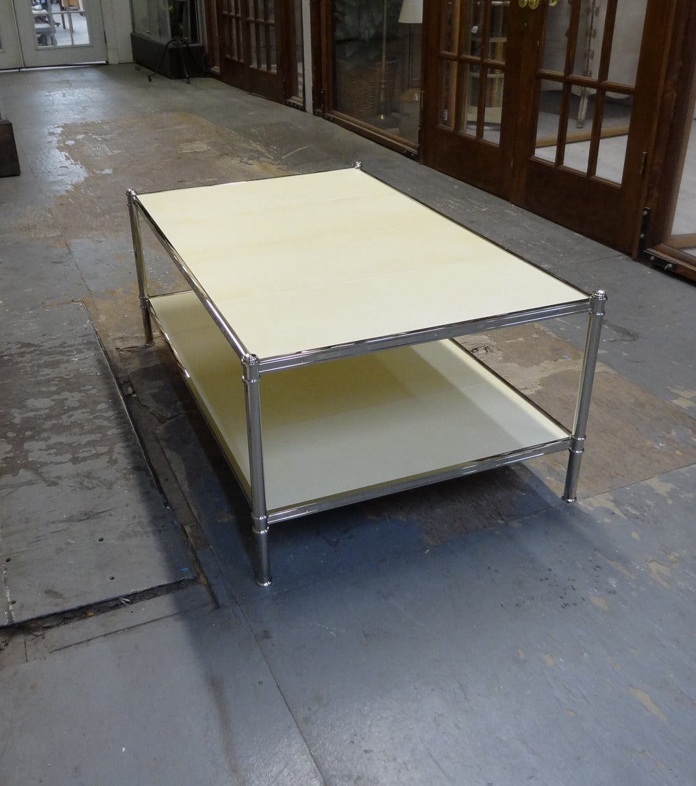 Cole Porter Coffee Table In Polished Nickel And Parchment