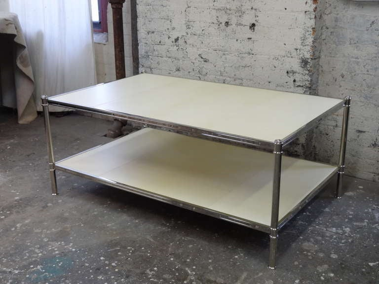 Cole Porter Coffee Table In Polished Nickel And Parchment For Sale At 1stdibs