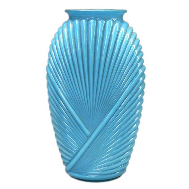 Ribbed Art Deco Glass Vase For Sale at 1stdibs