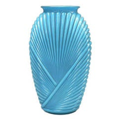 Ribbed Art Deco Glass Vase