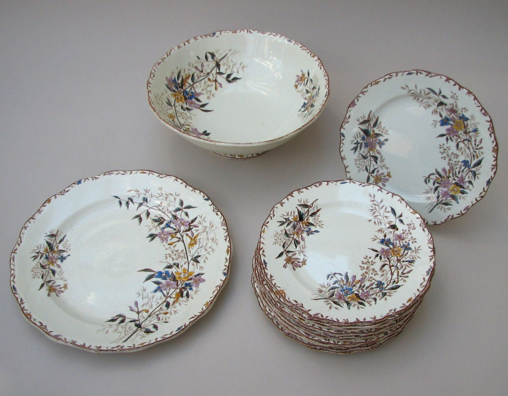 """French 14-Piece """"Jasmin"""" Pattern Part-Dinner Service by Sarreguemines For Sale"""