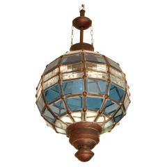 Unusual Secessionist Faceted Glass Light Fixture