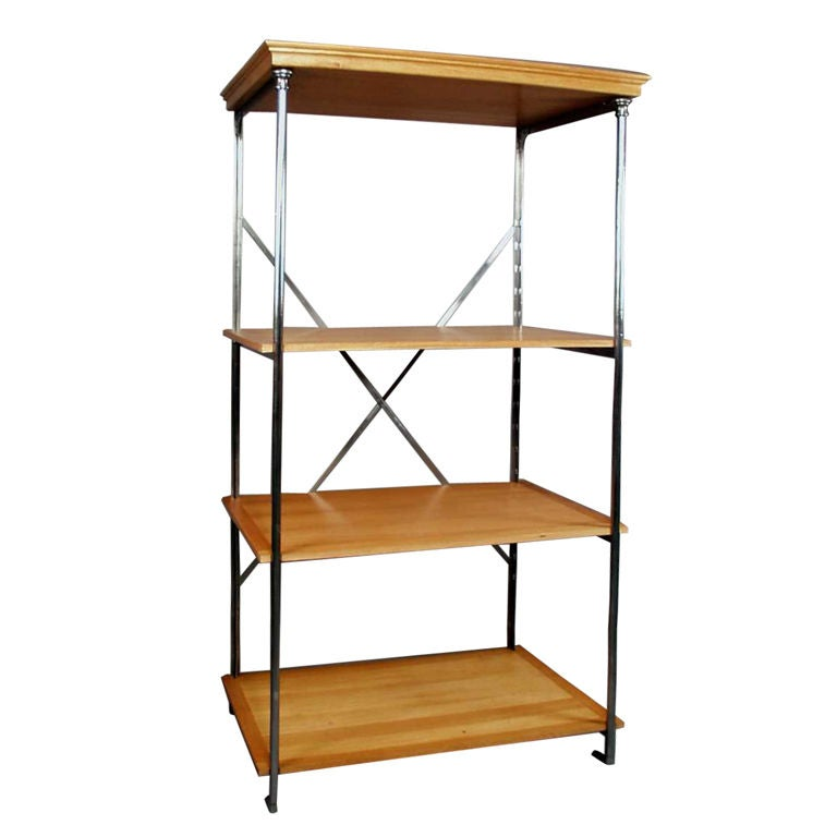 Polished Steel Etagere For Sale