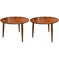 Pair of Three Tapered Leg Circular Wood Tables by Dunbar