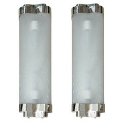 Pair of Etched Glass and Chrome Sconces
