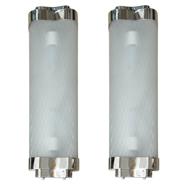 Pair of Etched Glass and Chrome Sconces For Sale