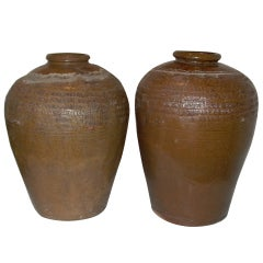 Pair of Handmade Asian Urns