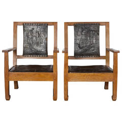 Pair of Oak and Leather Chairs