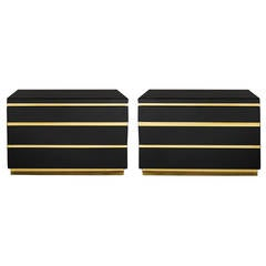 Black Lacquer Table Chests with Brass Accents