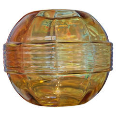 French Art Deco Amber Glass Globe Vase