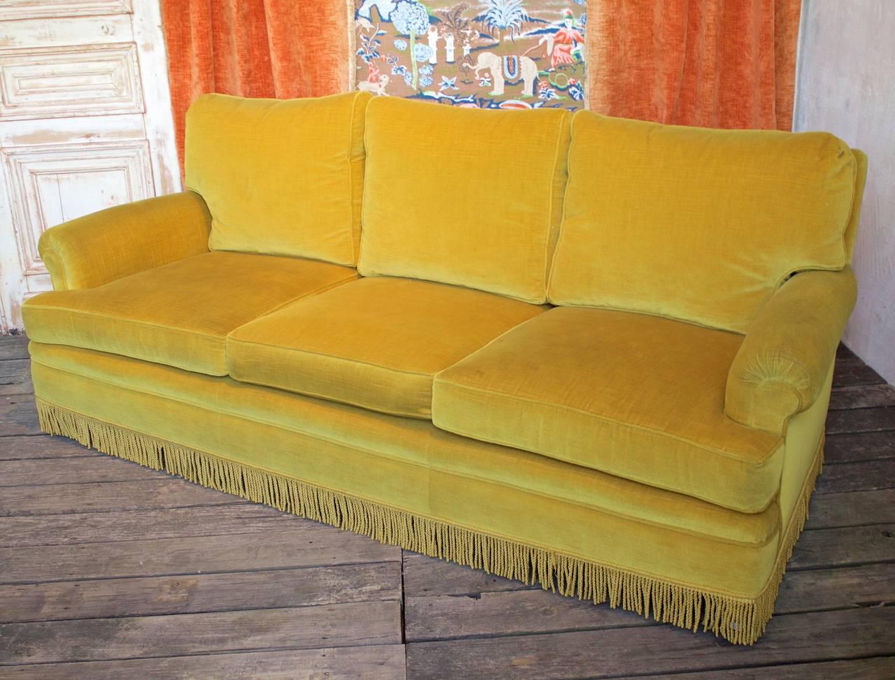 Gold Velvet Sofa With Fringe At 1stdibs