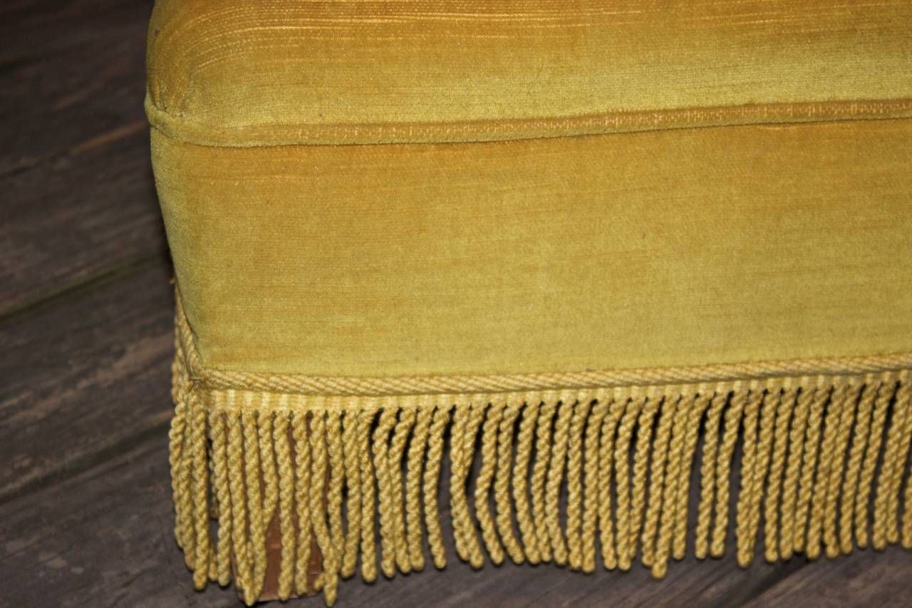 Gold Velvet Sofa with Fringe In Excellent Condition For Sale In Long Island City, NY