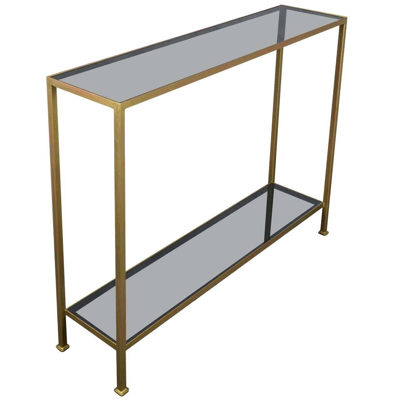 Marcelo Iron Console with Grey Glass Shelving