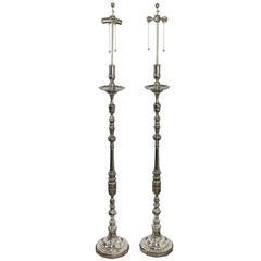 Pair of French Nickel-Plated Floor Lamps with Dodecagon Base