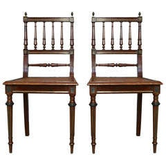 Pair of French 1900s Louis XVI Style Side Chairs with Wicker Seat
