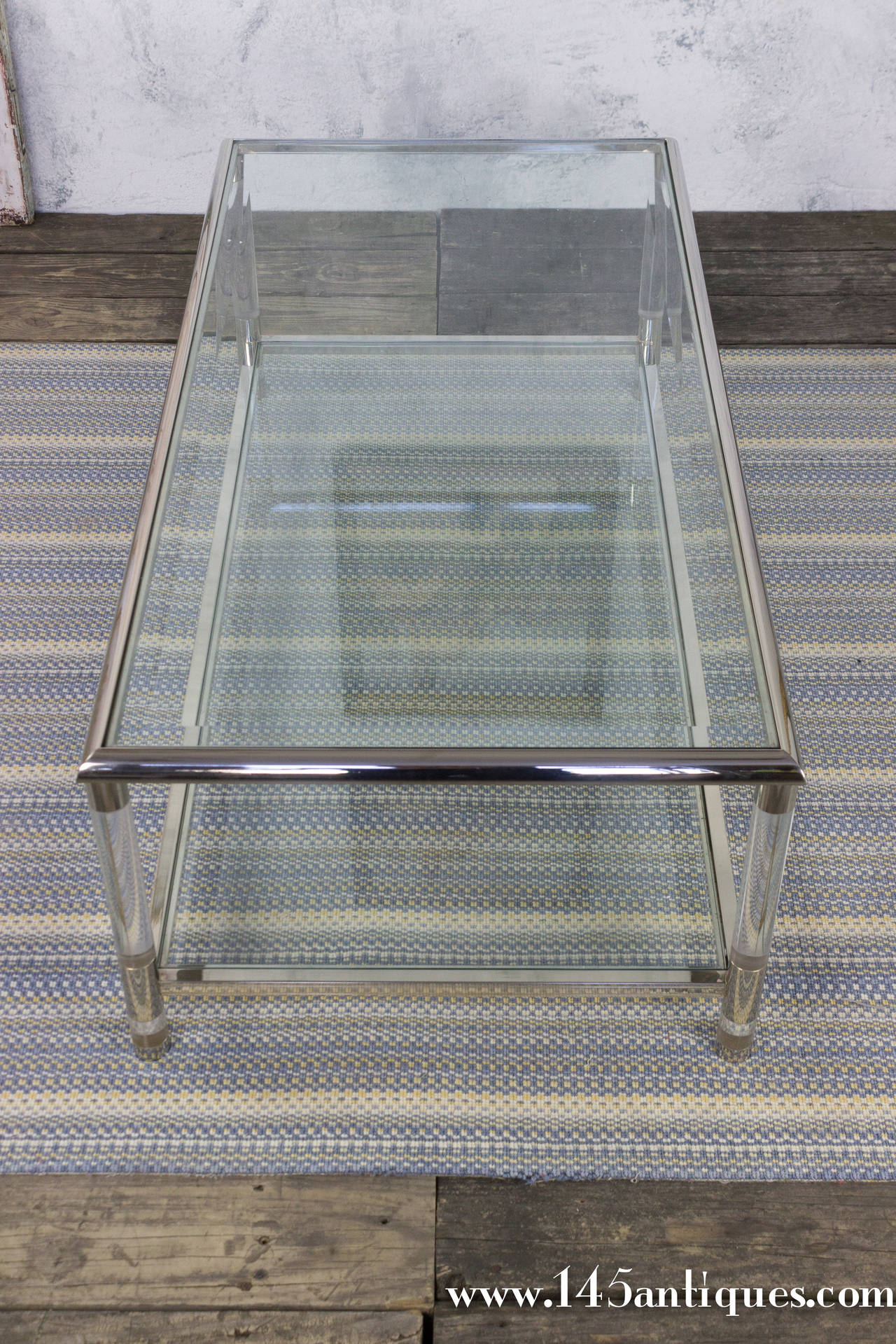 Rectangular Glass Coffee Table: 1960s Rectangular Lucite And Glass Coffee Table At 1stdibs