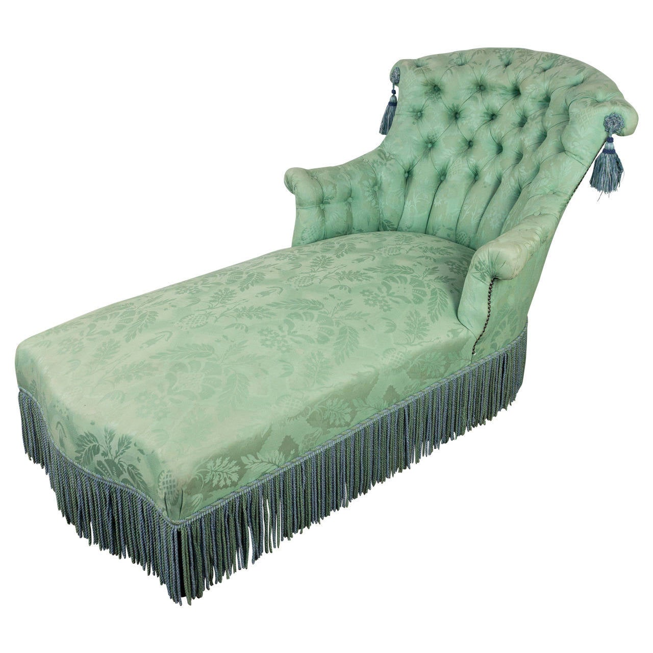 Chaise longue in pale green damask at 1stdibs for Black damask chaise longue