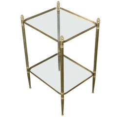 French Two-Tier Neo-Classical Style End Table with Clear Glass Shelves