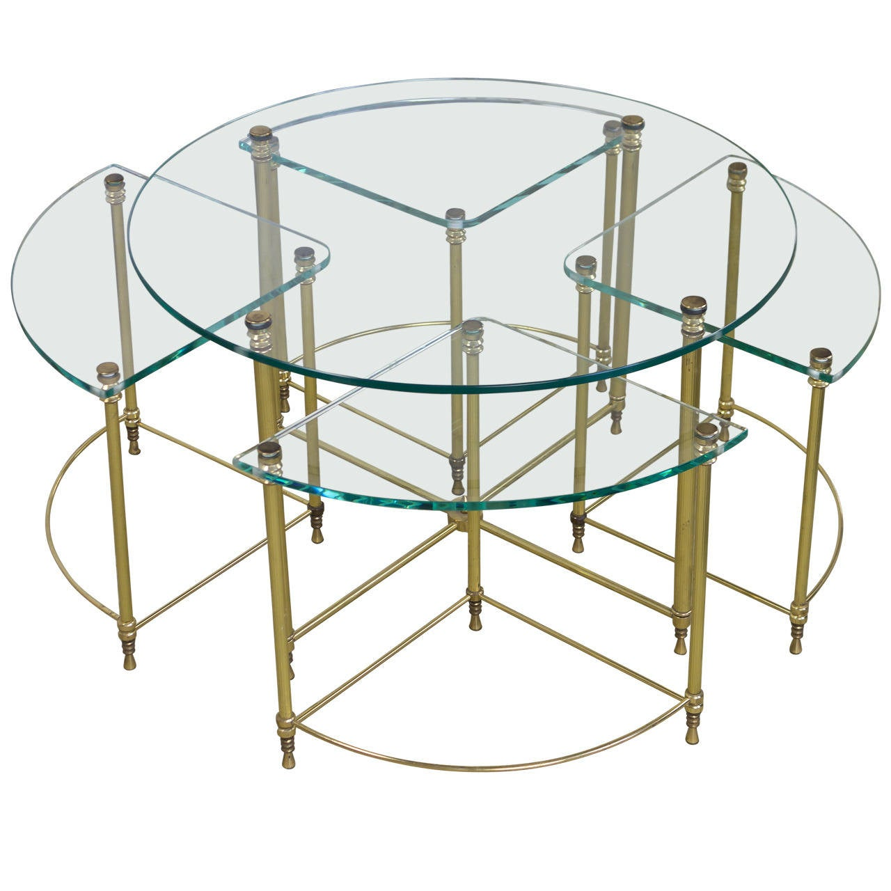 coffee table and nesting tables ensemble with clear glass