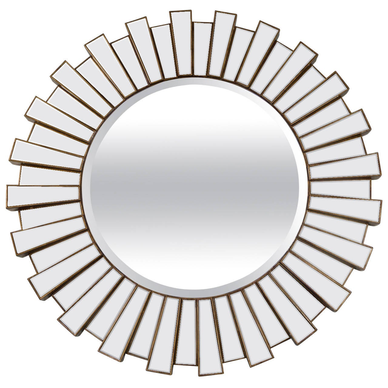 Large round sunburst bevel mirror at 1stdibs for Round mirror