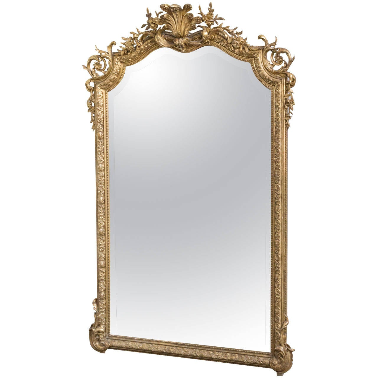 Ornate Gilt Framed Mirror With Bevel French 19th Century For Sale