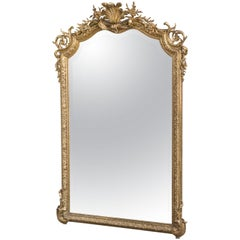 Ornate Gilt Framed Mirror with Bevel, French, 19th Century