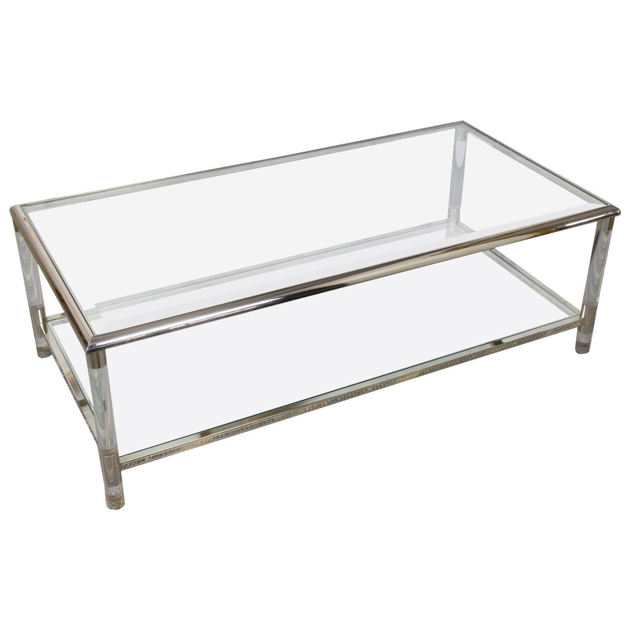 1960s Rectangular Lucite And Glass Coffee Table At 1stdibs