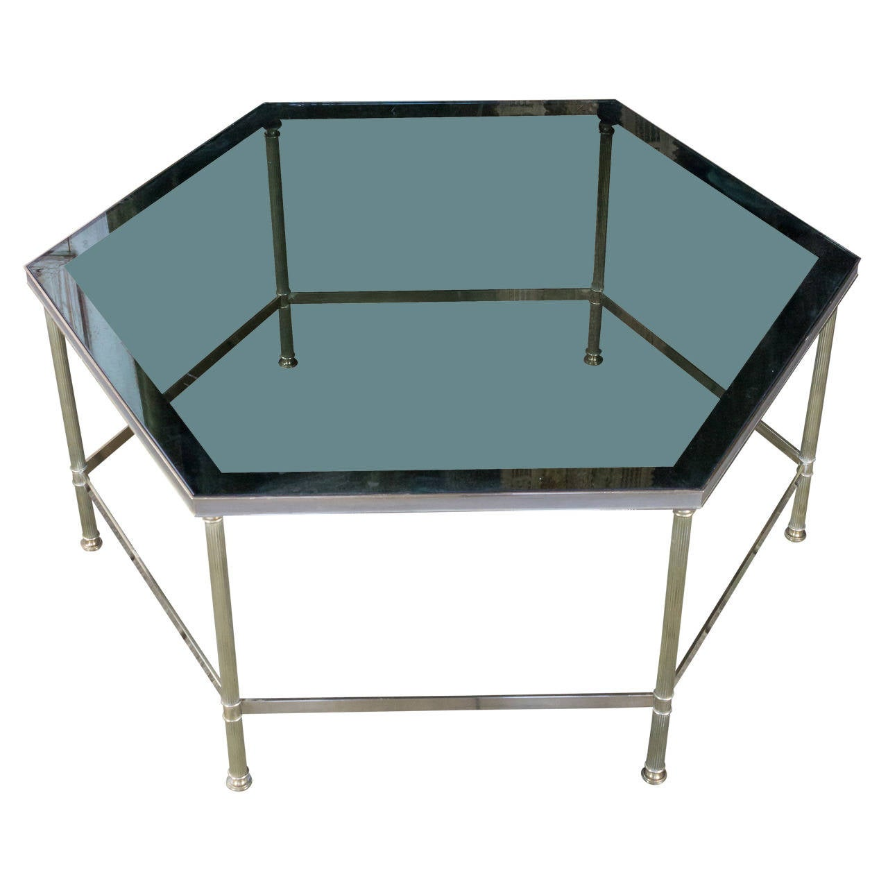 French 1970s Hexagon Brass Coffee Table With Grey Glass For Sale At 1stdibs