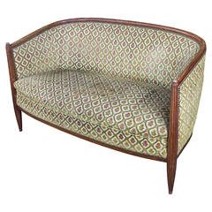 French Art Deco Settee with Curved Back