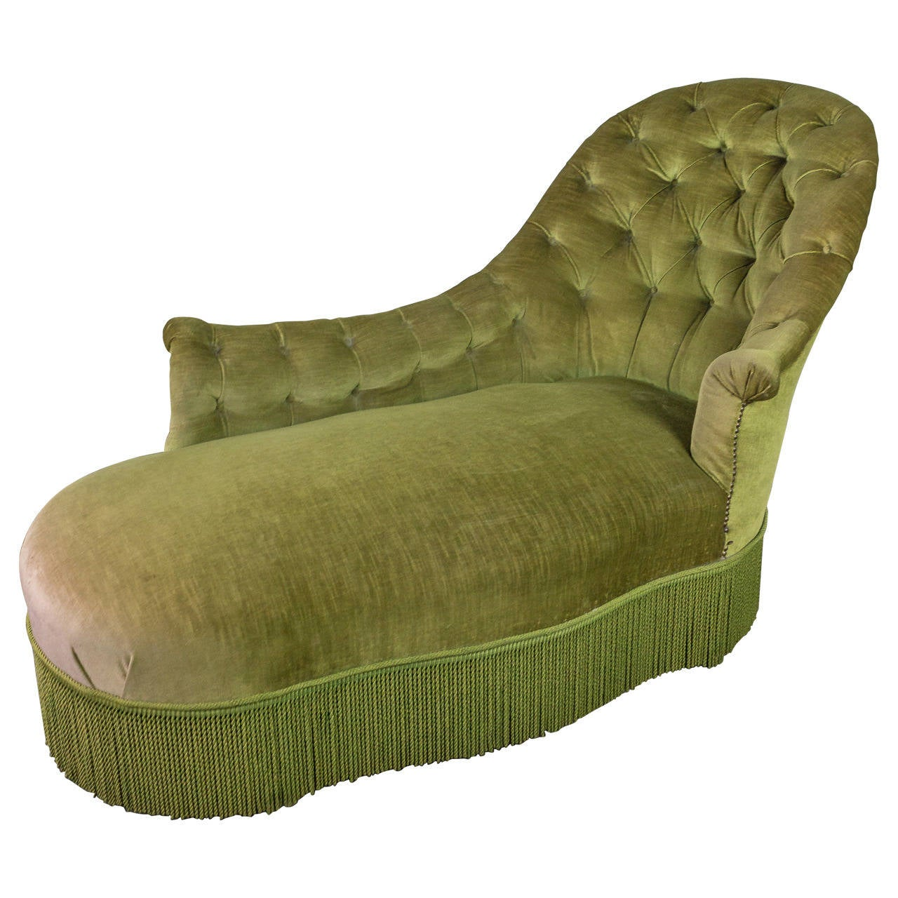 Tufted asymmetrical green chaise longue for sale at 1stdibs for Button tufted velvet chaise settee green