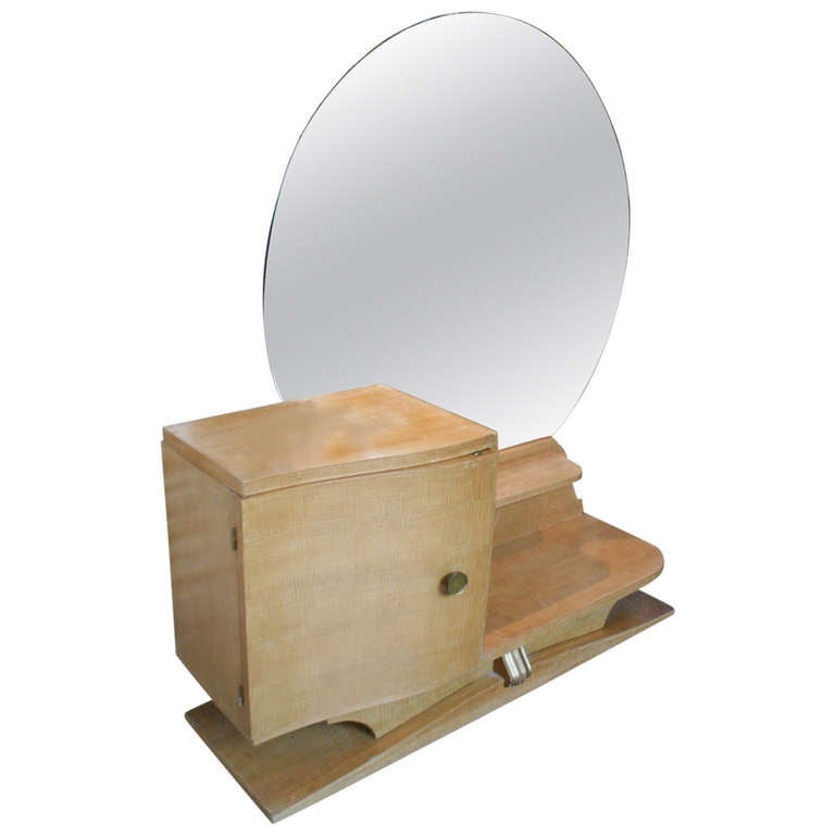 French 1930s Sycamore Vanity With Round Mirror For Sale At