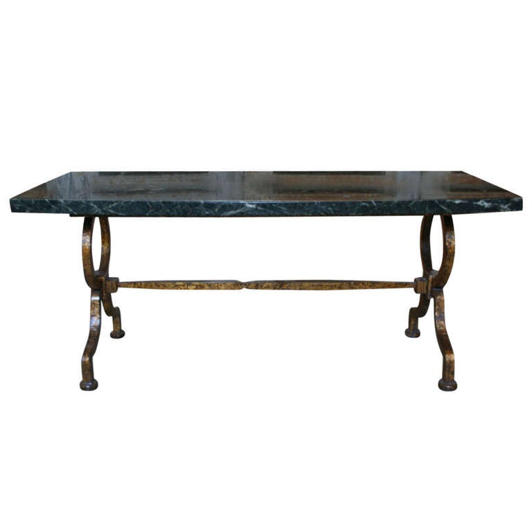 Gilt Iron Coffee Table With Green Marble At 1stdibs