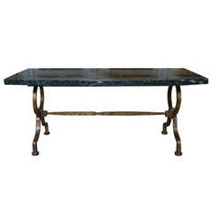Gilt Iron Coffee Table with Green Marble