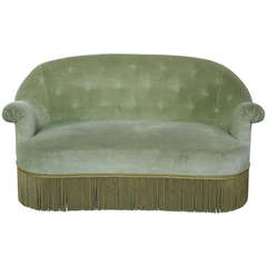 Small French Settee in Green Velvet
