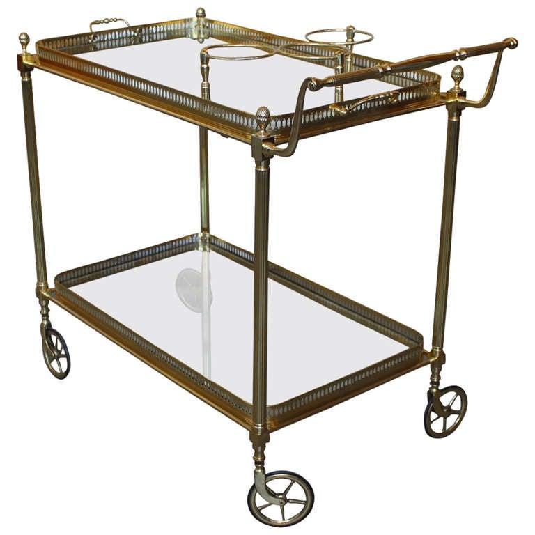 Rolling Brass Bar Cart At 1stdibs