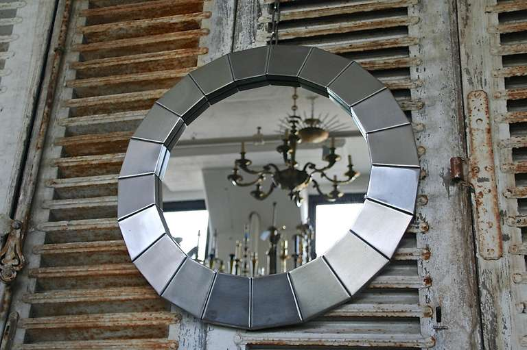 1970 39 s round polished steel frame mirror at 1stdibs for Long wall mirrors for sale