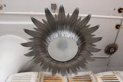 1940s Spanish Silvered Sunburst Ceiling Fixture with Patinated Gold Highlights