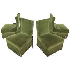 Pair of Slipper Chairs in Green Velvet