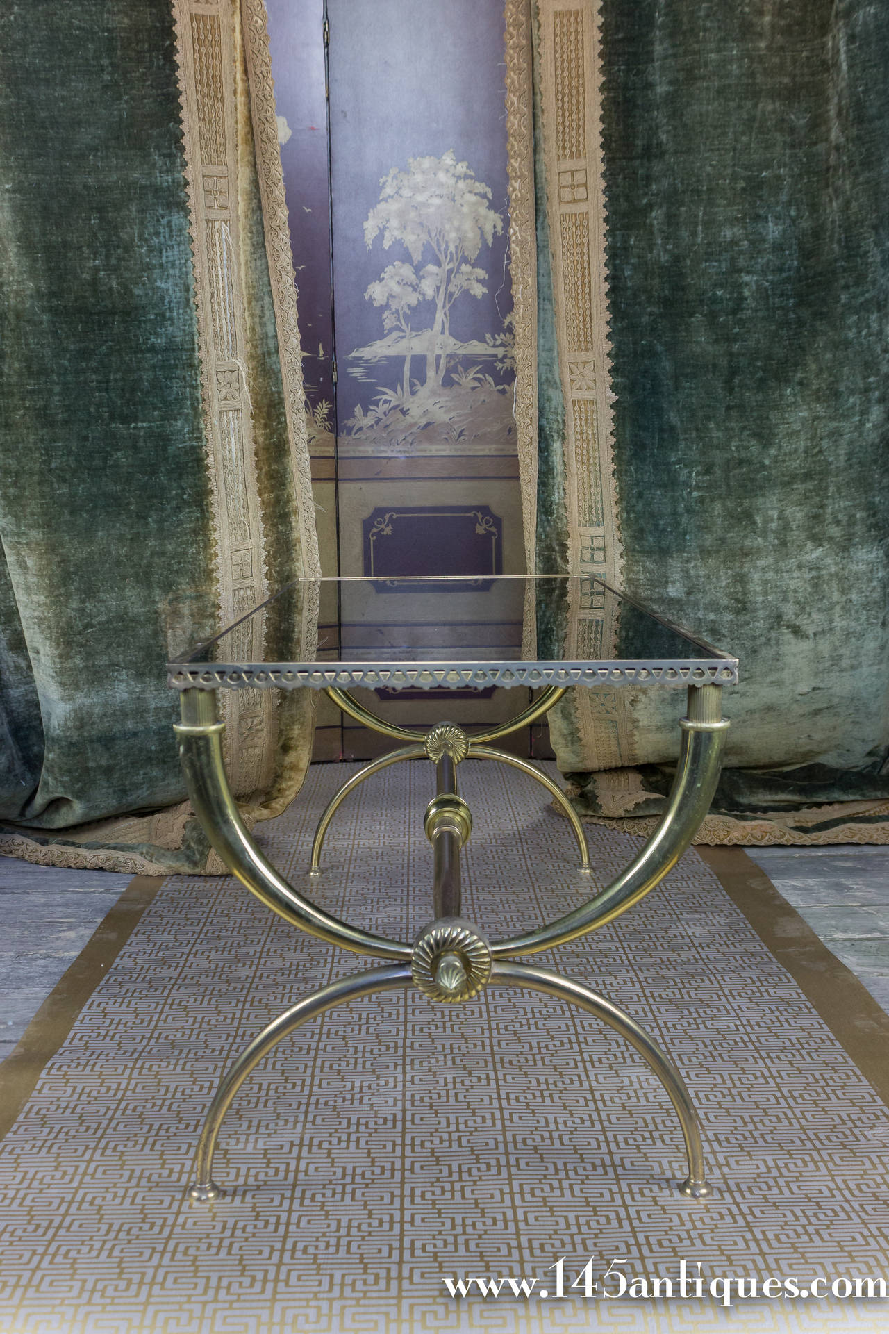 Elegant French 1940s Neoclassical Brass Coffee Table With