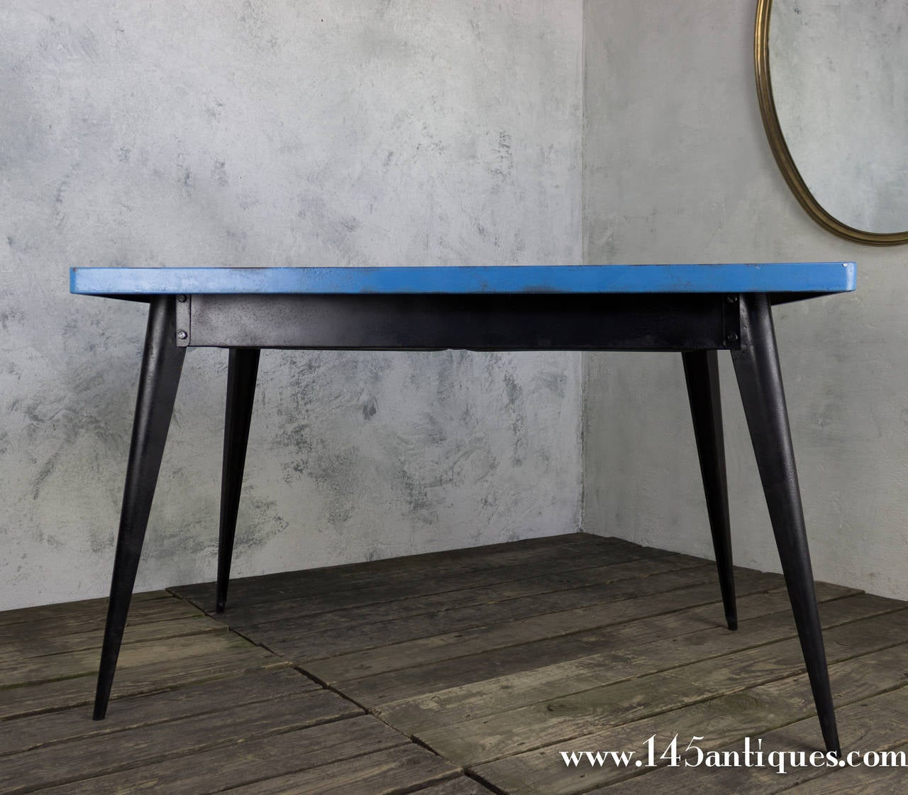 tolix table with blue top and black frame at 1stdibs. Black Bedroom Furniture Sets. Home Design Ideas