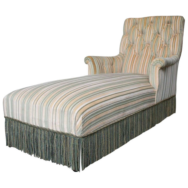 French 19th c napoleon iii chaise lounge in striped for Chaise 64 cm