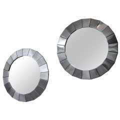 Pair of Round Polished Metal Framed Mirrors