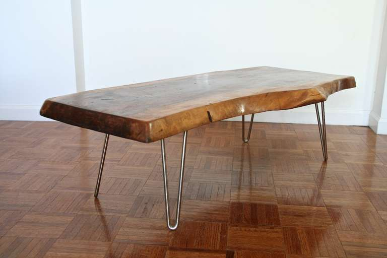 Merveilleux Walnut Coffee Table With Hairpin Legs