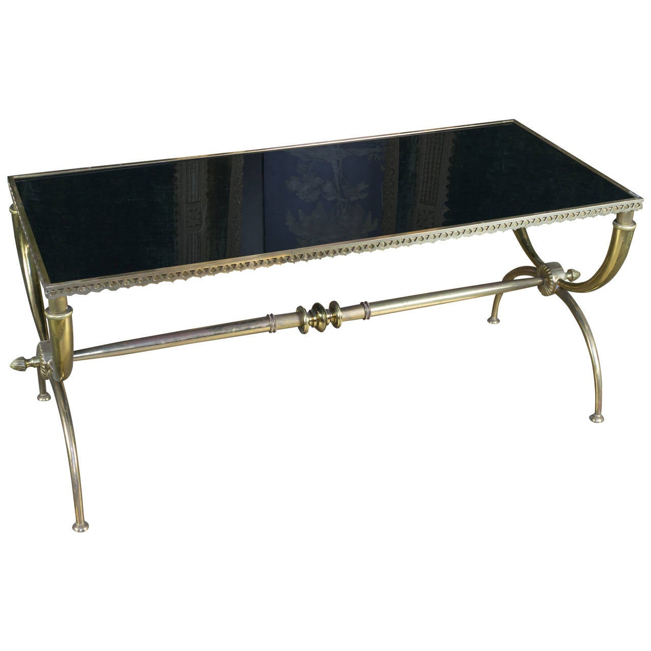 Elegant Brass And Glass Coffee Table: Elegant French Brass Coffee Table With Black Glass At 1stdibs