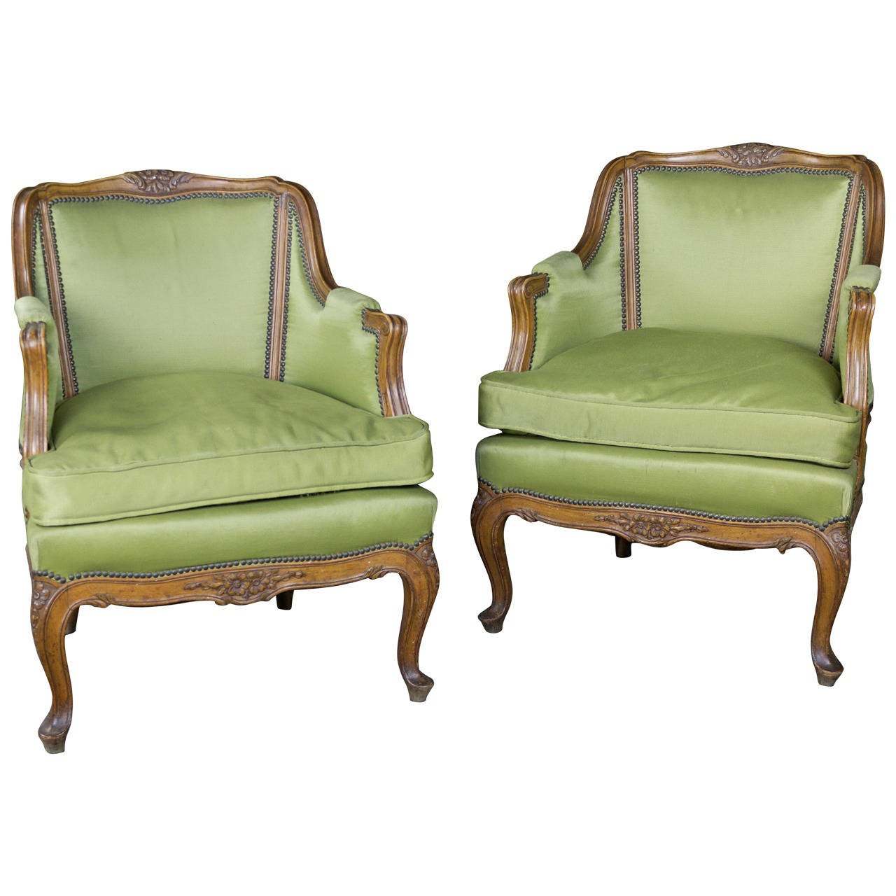 Pair of Louis XV Style Green Armchairs with Exposed Wood Frame
