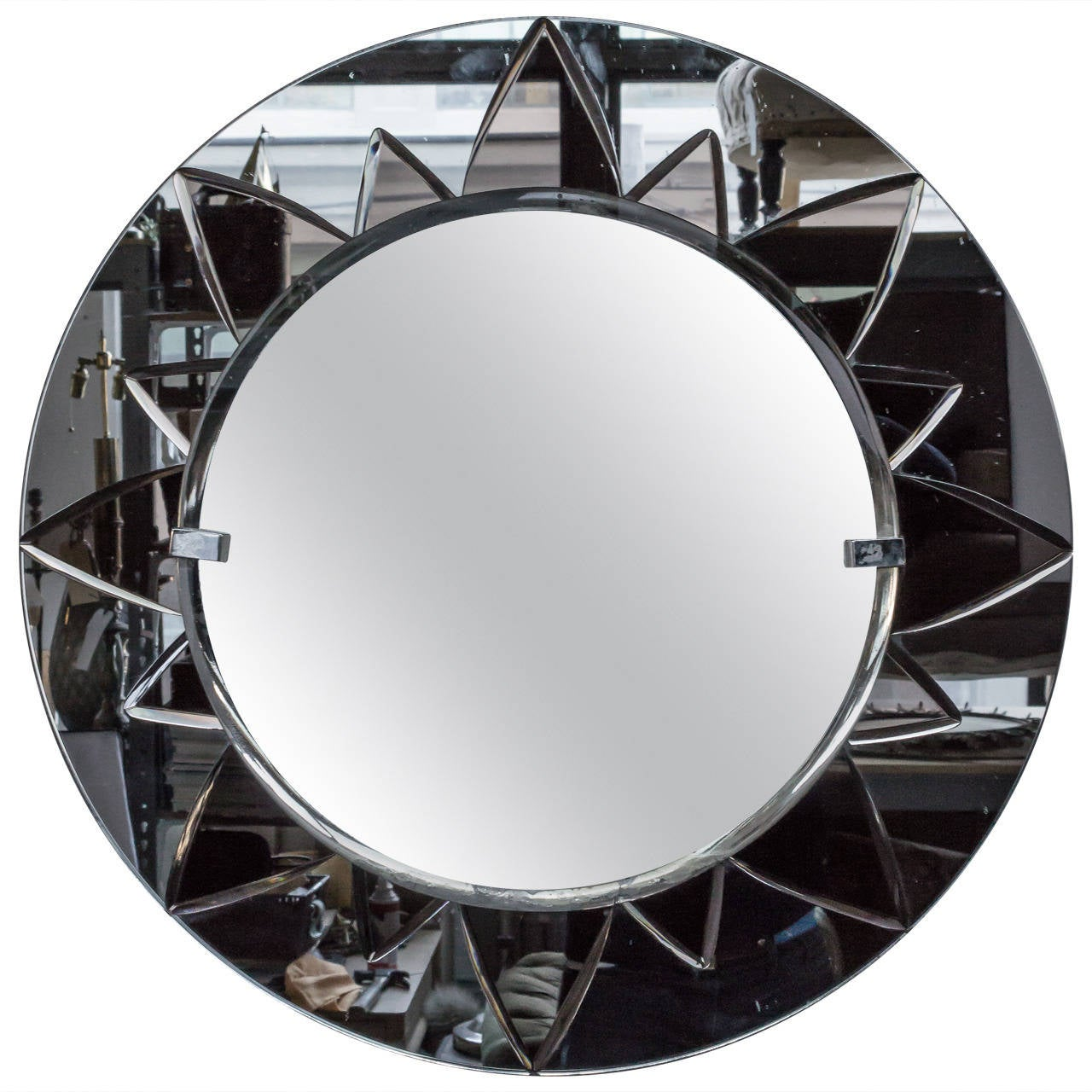 unusual round mirror with rose mirror sunburst design for